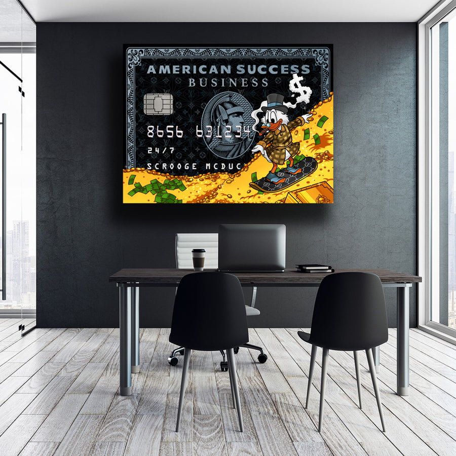 Scrooge McDuck Success American Success Credit Card décor Entrepreneur Passion Mindset motivational inspirational art artwork prints on canvas wall giclees for home gym office by Symbolic Designs