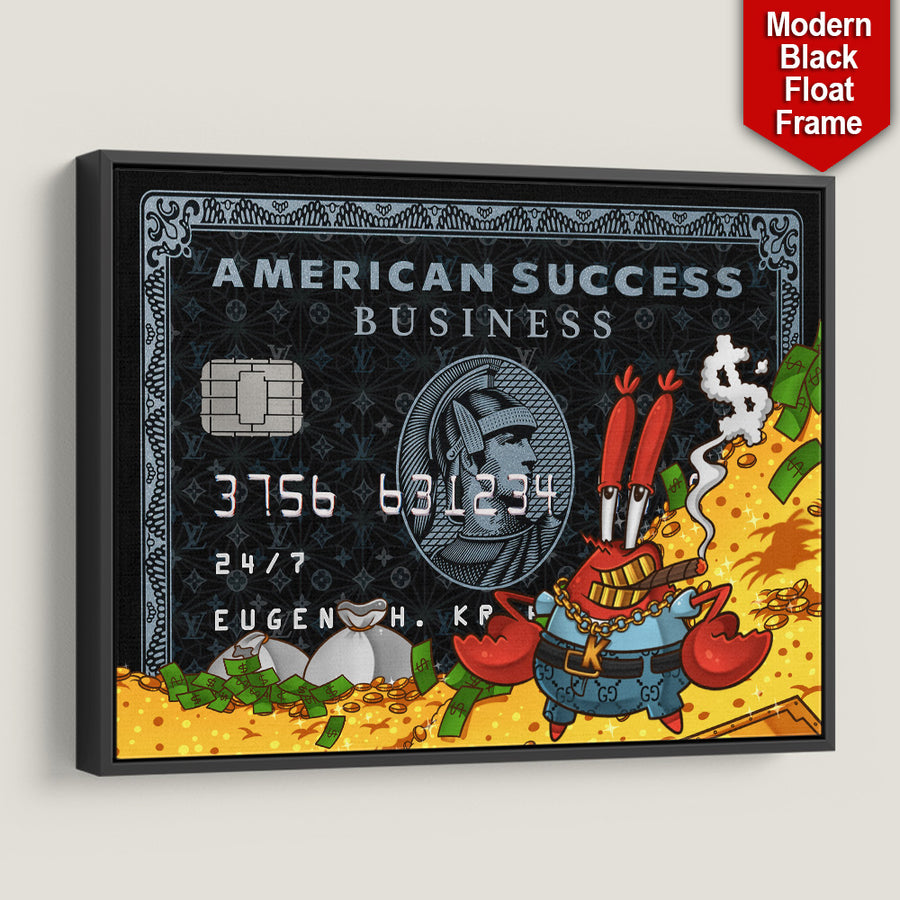 Mr Krabs American Success Business Credit Card black frame