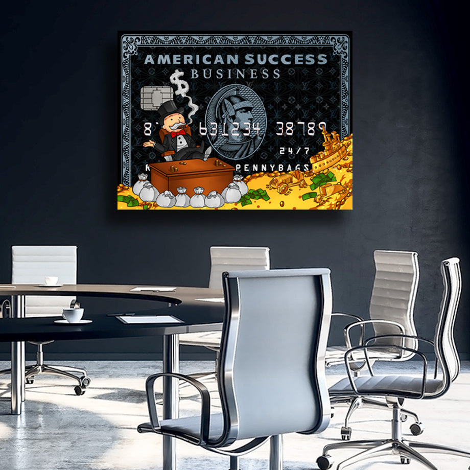 Rich Uncle Pennybags Monopoly American Success Credit Card Mindset motivational inspirational art artwork prints on canvas wall decor giclees for home gym office by Symbolic Designs