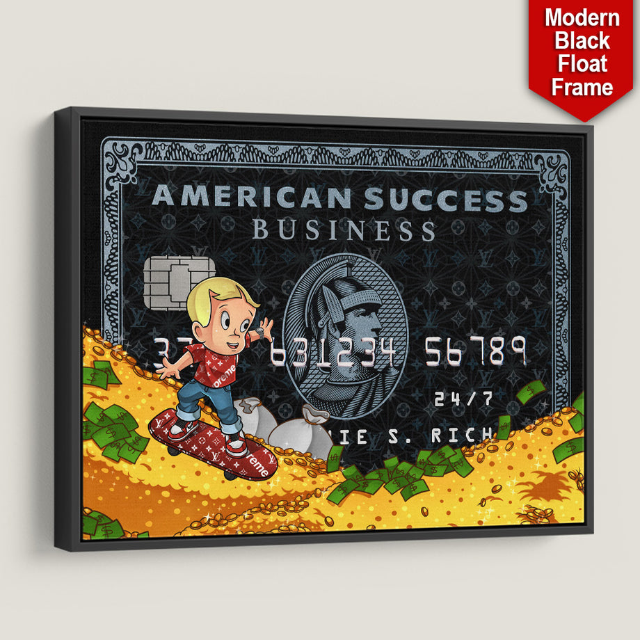 Supreme Richie Rich American Success Credit Card inspirational motivational canvas art for home office gym by symbolic designs black frame