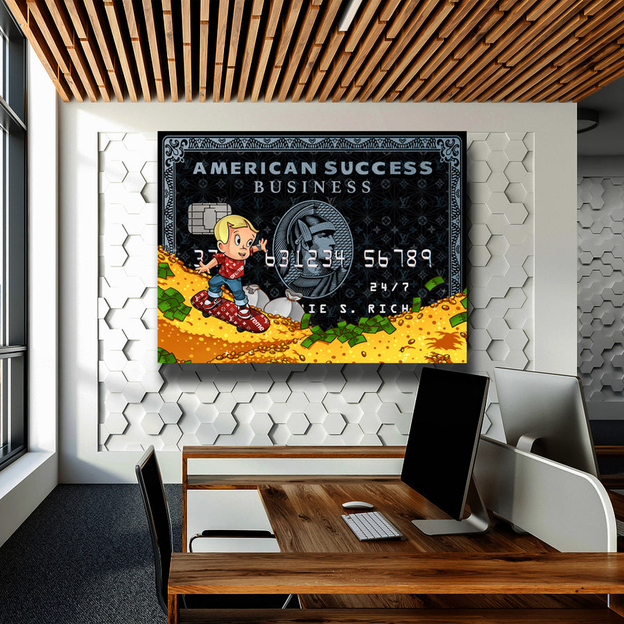 Supreme Richie Rich American Success Credit Card inspirational motivational canvas art for home office gym by symbolic designs