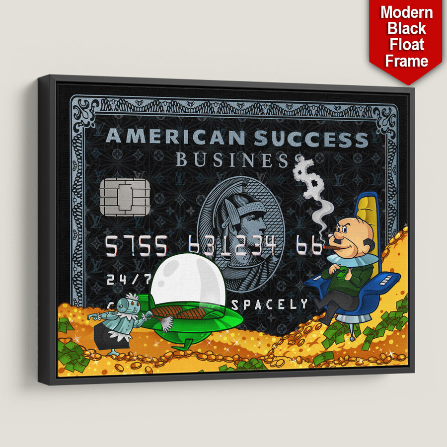 Success Spacely American Success Credit Card inspirational motivational canvas art for home office gym by symbolic designs black frame