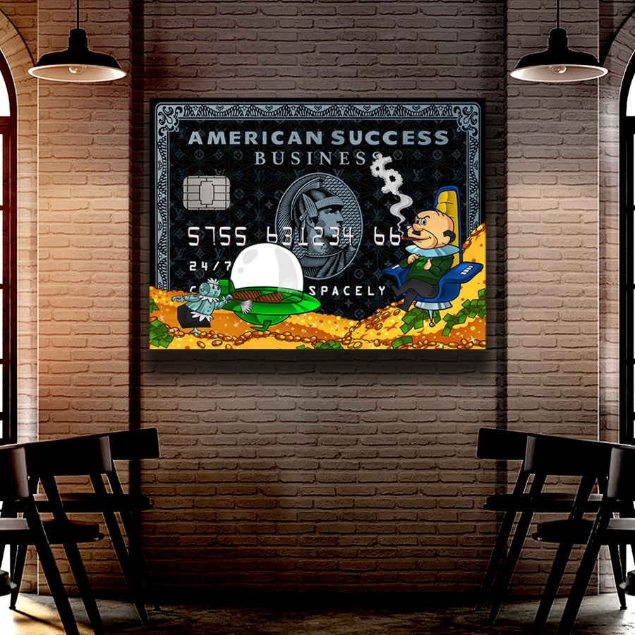 Success Spacely American Success Credit Card inspirational motivational canvas art for home office gym by symbolic designs lifestyle