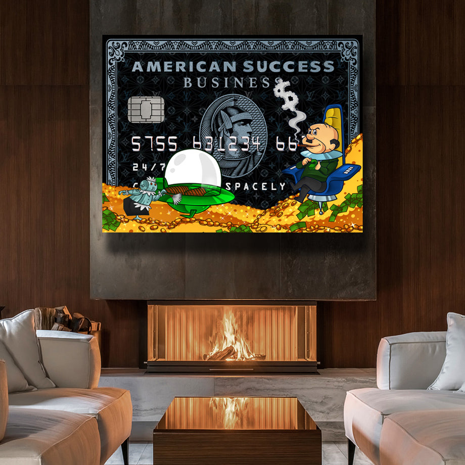 Success Spacely American Success Credit Card inspirational motivational canvas art for home office gym by symbolic designs