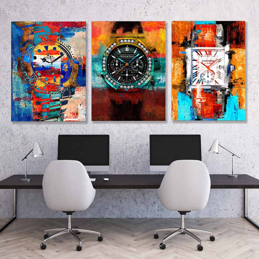 Art of Time Canvas Art Bundle: Rolex Fuego Art AP Watch Cartier Stronger