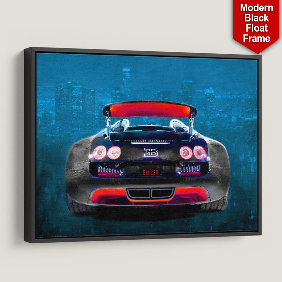 Baller Whip Sports Car Entrepreneur City Canvas Art Red Blue