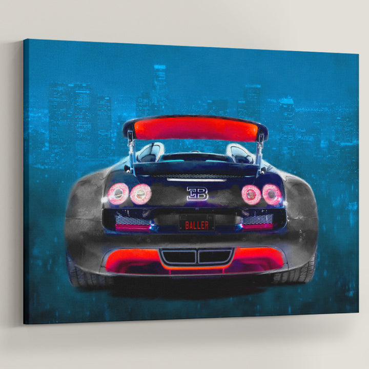 Baller Whip Sports Car Entrepreneur City Canvas Art Red Blue wall art canvas prints