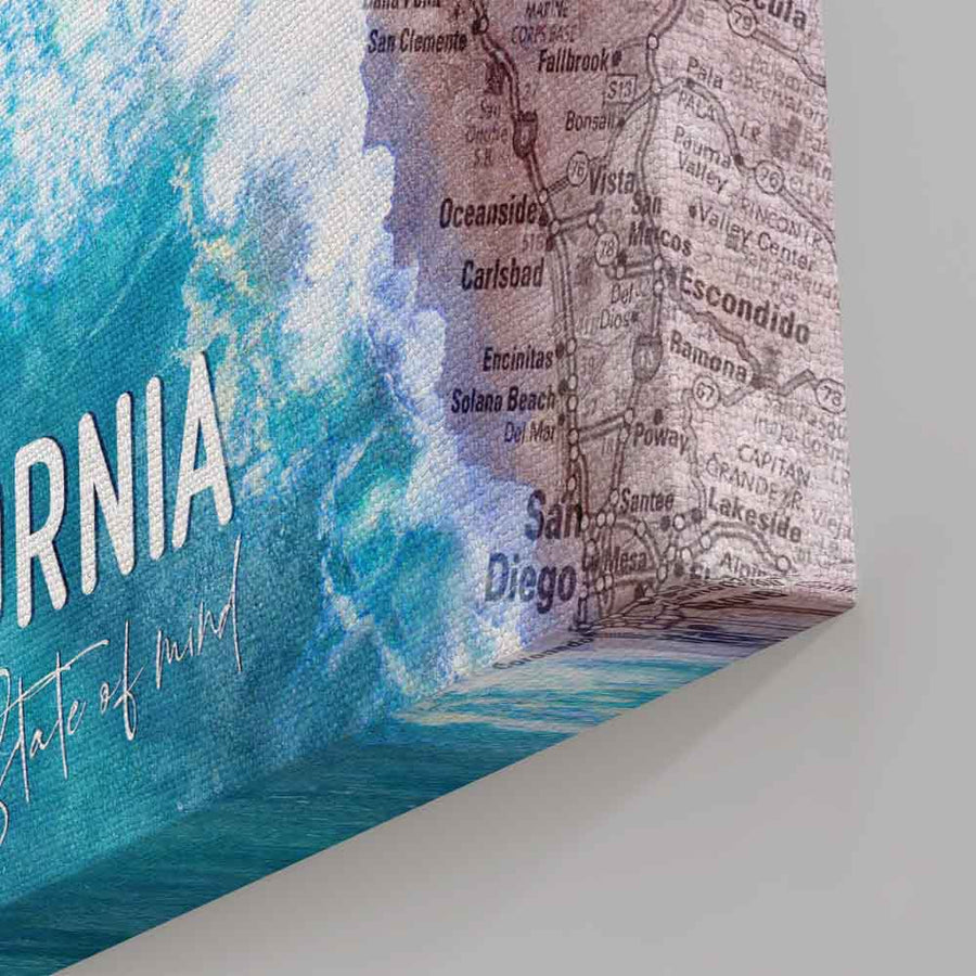 California State of Mind - Symbolic Designs Motivational Canvas Art. It's time to unwind and put on a California state of mind. Enhance your walls with this art that will be a great addition to your personal art collection!