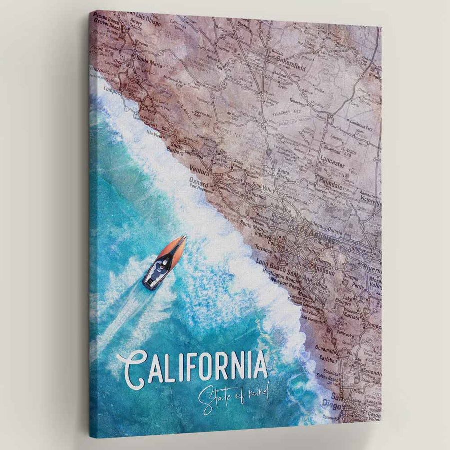 "California State of Mind - Symbolic Designs Motivational Canvas Art. Most people with the California state of mind are not afraid to set trends or act different. Californians are laid back and know how to enjoy themselves no matter the situation. Introducing ""California State Of Mind"" a part of our Unwind Collection."