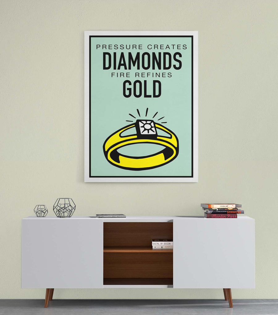 Diamonds and Gold-Canvas-Symbolic Designs - Monopoly Inspired Game On Motivational Art