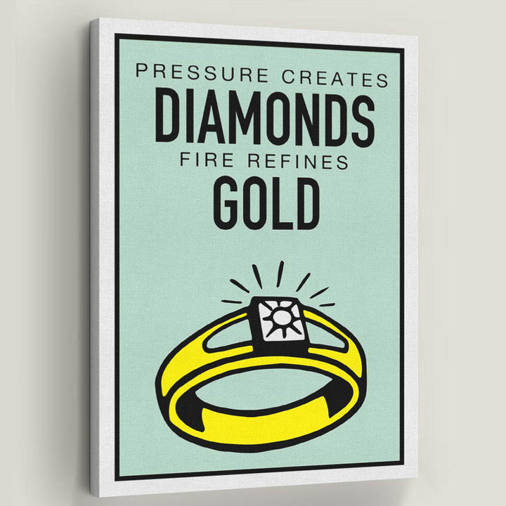 Diamonds and Gold-Canvas Symbolic Designs Monopoly Inspired Game On Motivational Art for home office prints quotes sale