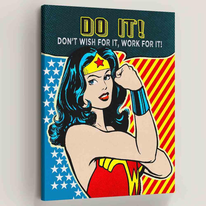 Wonder Woman Pop Art Do It Empowering Canvas Quote