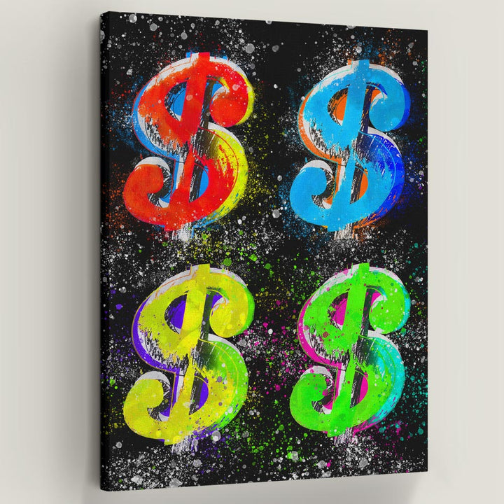 Dollar Signs IV Inspirational and Motivational Canvas Art wall décor painting for home office