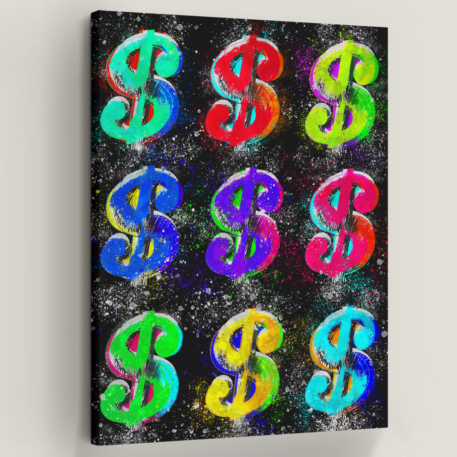 Dollar Signs Cash Money Inspirational Motivational canvas prints motivational wall art for home office gym decor by symbolic designs