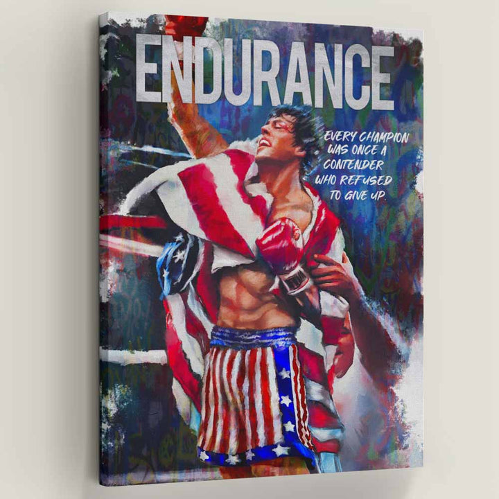 Endurance Movie Quote Rocky Balboa Boxing Canvas Art