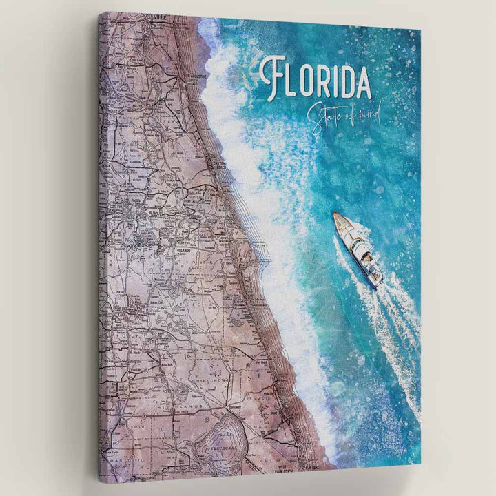 "Florida State Of Mind - Symbolic Designs Motivational Canvas Art. Most people with the Florida state of mind are not afraid to break trends or act out of the ordinary. Floridians are laid back and know how to enjoy themselves no matter the situation. Introducing ""Florida State Of Mind"" a part of our Unwind Collection."