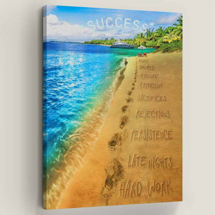 Footprints Of Success - Symbolic Designs Inspirational Canvas Art
