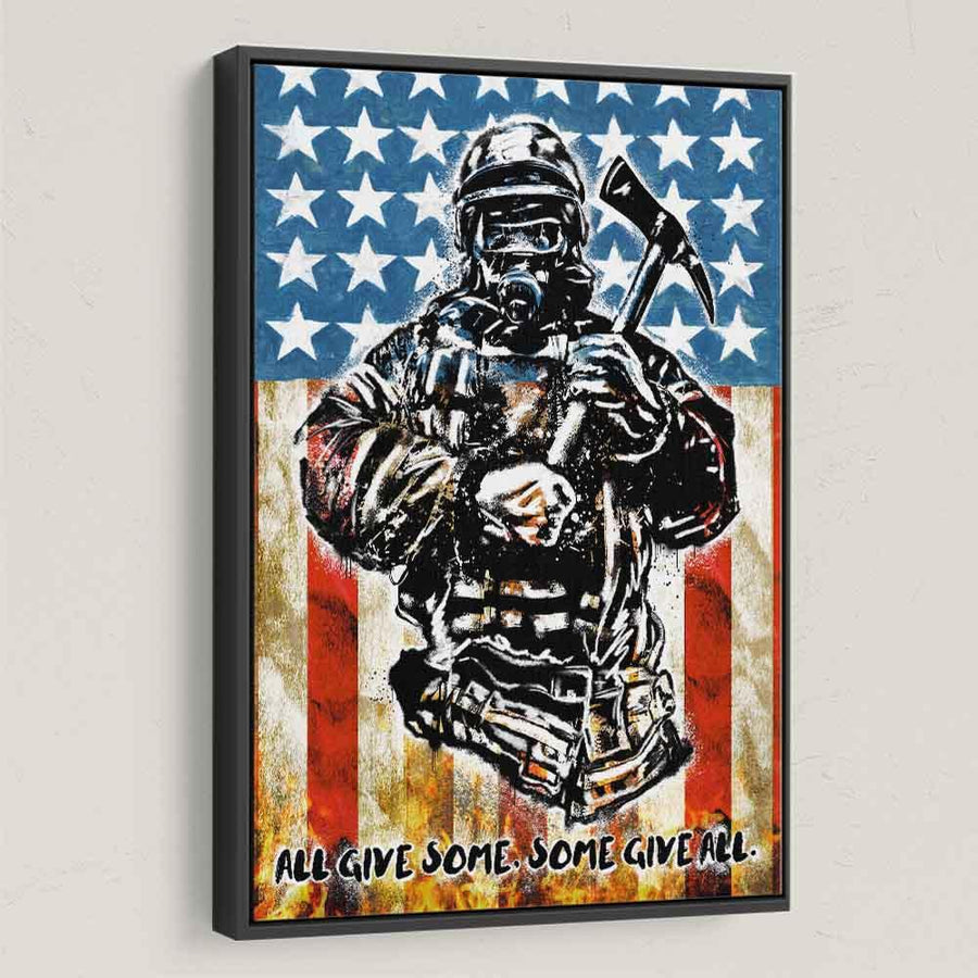 American Savior Firefighter Canvas Art