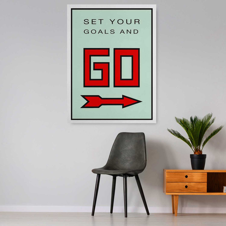 Set Goals And Go-Canvas-Symbolic Designs - Monopoly Inspired Game On Motivational Art