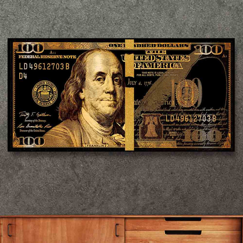 We Trust Golden Frank Bills Hundred Dollar Bill inspirational motivational canvas art for home office gym by symbolic designs