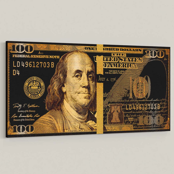 Golden Frank Hundred Dollar Bill Gold