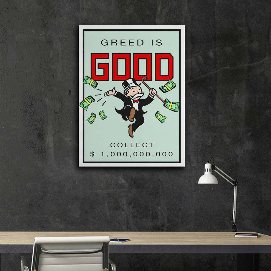 Greed is Good-Canvas-Symbolic Designs - Monopoly Inspired Game On Motivational Art