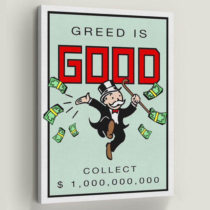 Greed is Good-Canvas-Symbolic Designs - Monopoly Inspired Game On Motivational Art inspirational Canvas wall Art by Symbolic Designs Inspirational Collection decor for home office living room quotes sale