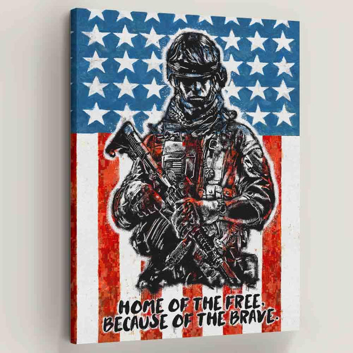 Home of the Brave American Soldier Canvas Art
