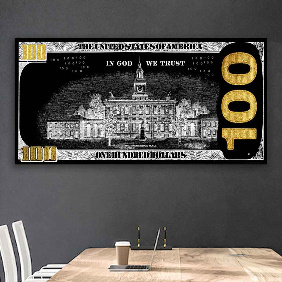Cash Money Dollar Bill Street Art Modern/Pop Culture Canvas Wall Art - Symbolic Designs