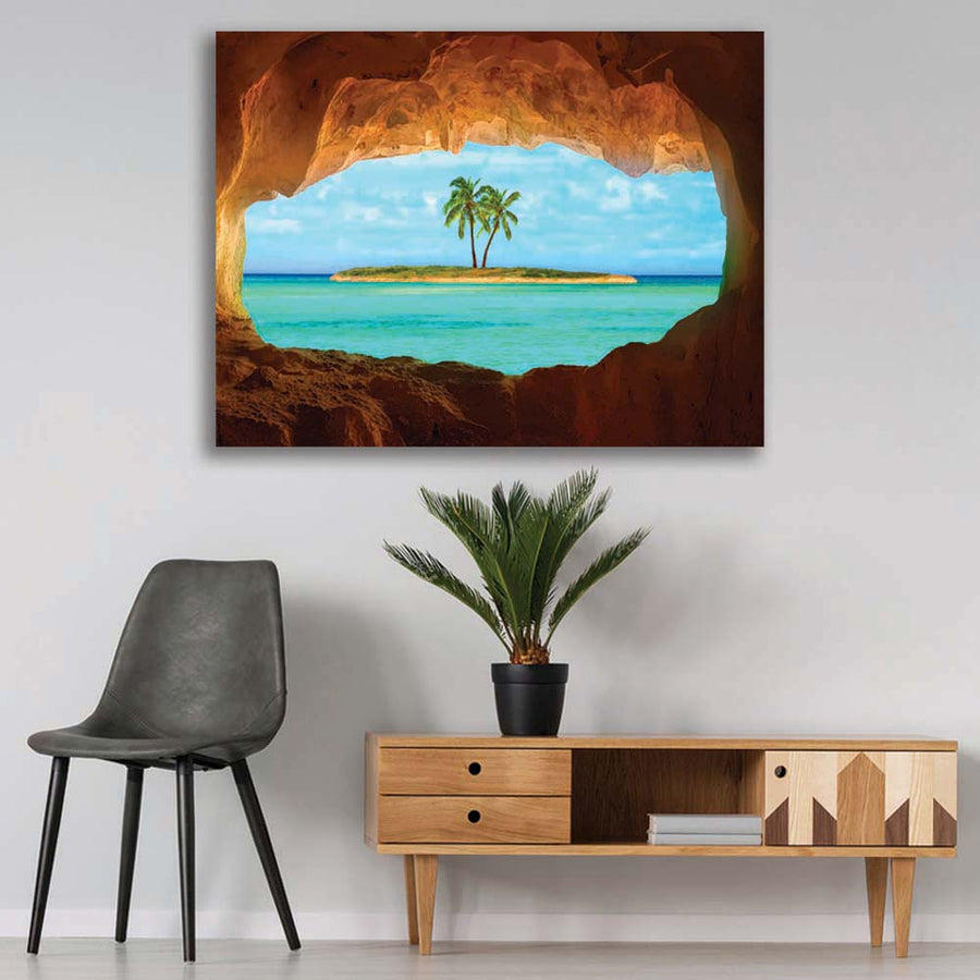 Island Cave Paradise Inspirational Canvas Art by Symbolic Designs