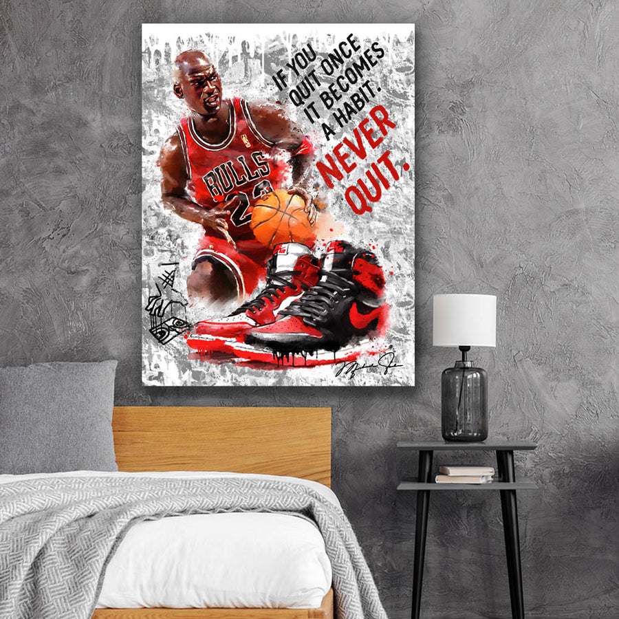 Winners Never Quit Inspirational Quote inspirational motivational canvas art for home office gym by symbolic designs lifestyle