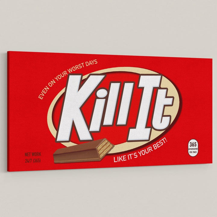 Kill It Chocolate Bar Kit Kat Red Canvas Art