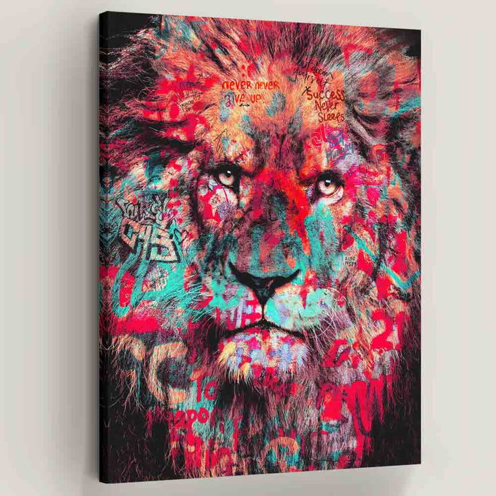 King of Street Lion motivational inspirational canvas art for home office gym wall decor artwork prints by Symbolic Designs