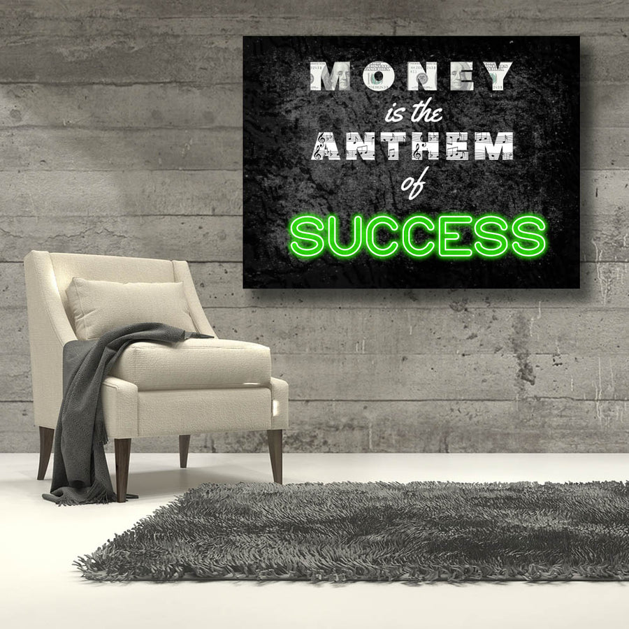 Money Anthem of Success Neon Canvas Art for Inspiration by Symbolic Designs