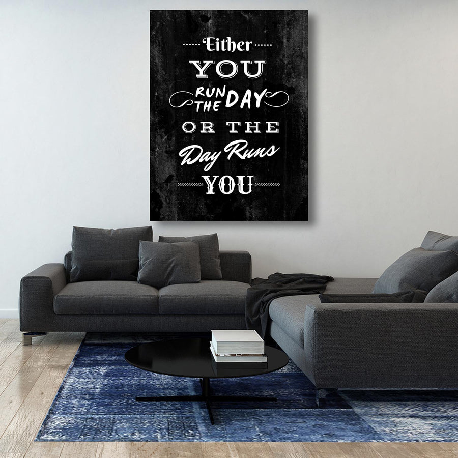 Run the Day décor Entrepreneur Passion Mindset motivational inspirational art artwork prints on canvas wall giclees for home gym office by Symbolic Designs lifestyle two