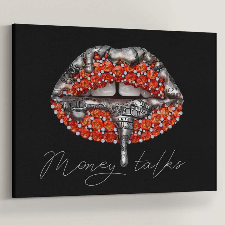 Lips Dollar Bitcoin Cryptocurrency Money Talks Canvas Art inspirational motivational wall decor prints for home office gym by Symbolic Designs