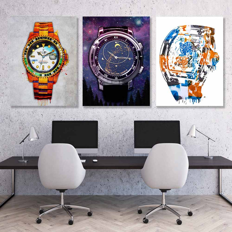 Luxury Watches Canvas Art Bundle - Symbolic Designs Amazing Trio Artwork motivational inspirational decor prints for home office gym desk wall by symbolic designs