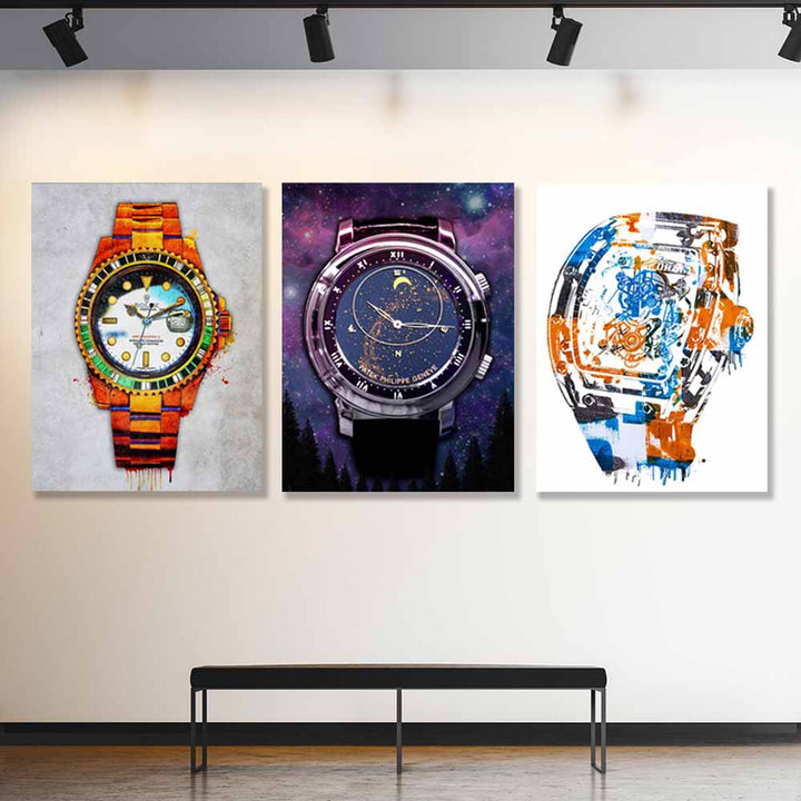 Luxury Watches Canvas Art Bundle - Symbolic Designs Amazing Trio Artwork motivational inspirational decor prints for home office gym wall by symbolic designs