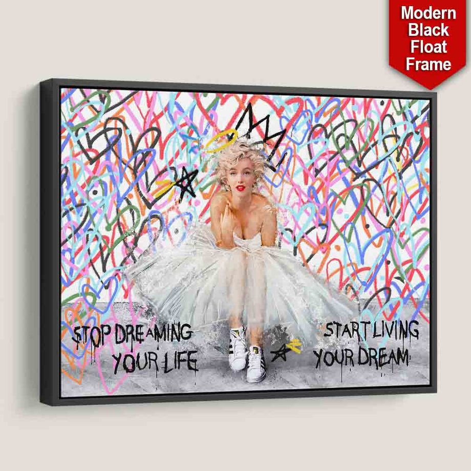 Marilyn Monroe Love Tribute Color Hearts Street inspirational motivational canvas wall art artwork for home office gym black frame by Symbolic Designs