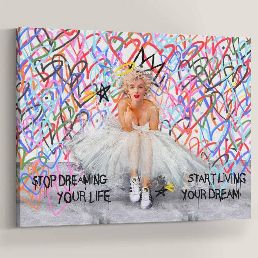Marilyn Monroe Love Tribute Color Hearts Street inspirational motivational canvas wall art artwork for home office gym by Symbolic Designs
