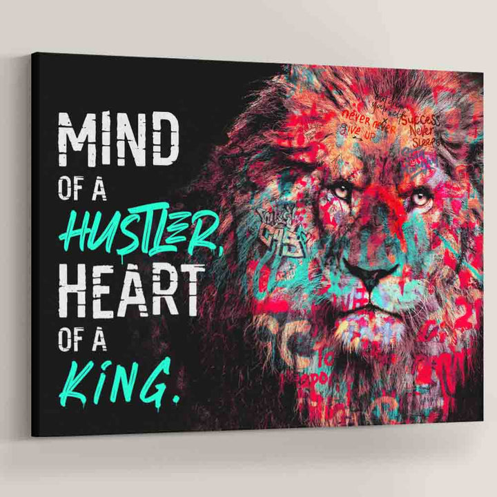 Mind of a Hustler Heart of a King Lion Graffiti motivational inspirational canvas art for home office gym wall by symbolic designs