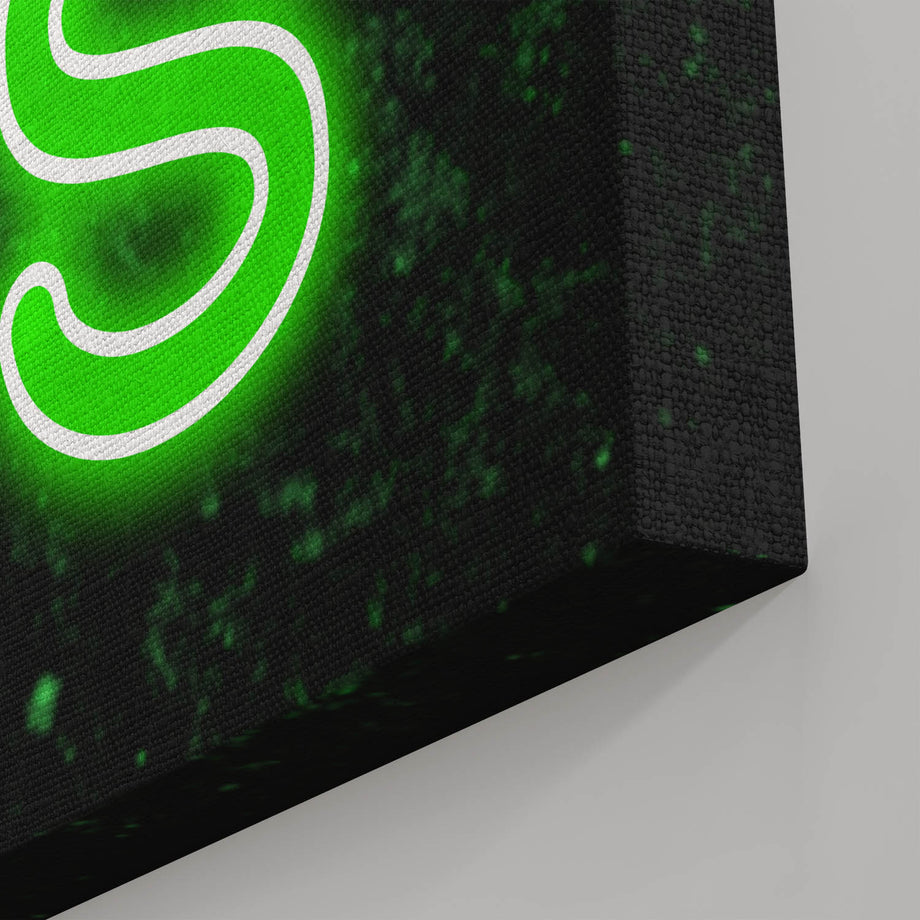 Money Anthem of Success Neon Canvas Art. Money is the Anthem of Success. This typographic art piece will motivate  you to hustle and grind to build your empire. This canvas will be a beautiful addition to your personal collection that will compliment any room and bring inspiration to your walls.