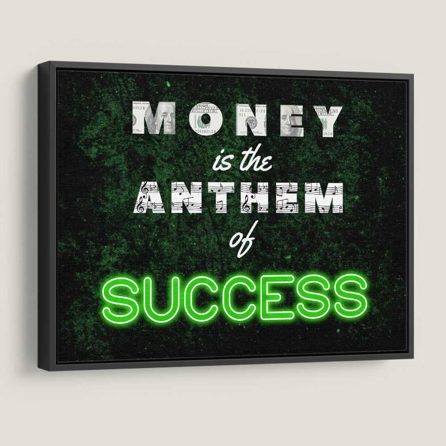 Money Anthem of Success Neon Canvas Art