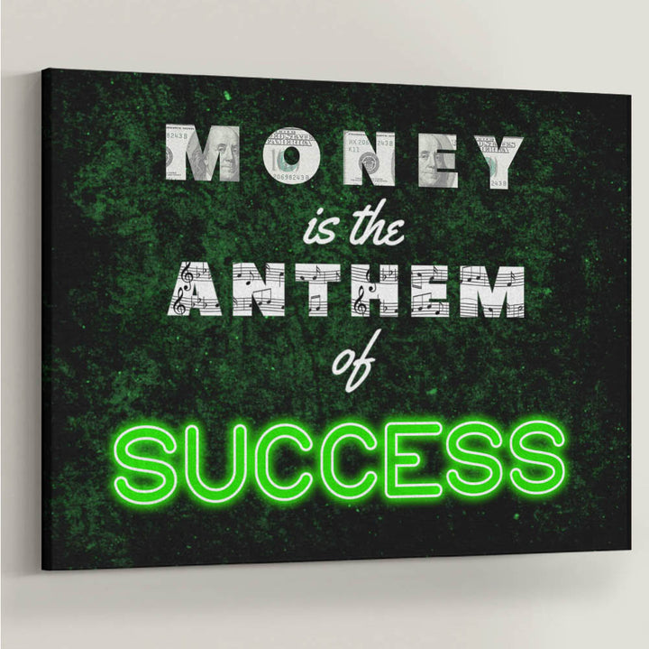 "Money Anthem of Success Neon Canvas Art. ""Cha-ching!"" money is music to my ears. Introducing ""Money Anthem"" a part of our Inspirational Art Collection."
