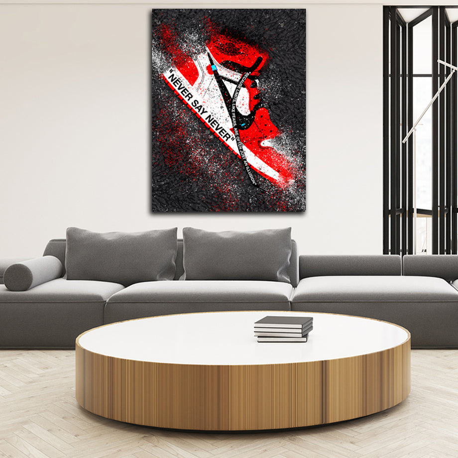 Never Say Never Jordan 1 Inspirational Canvas Art by Symbolic Designs