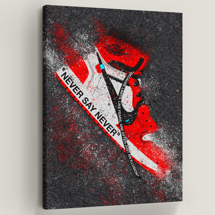 "Never Say Never Jordan 1. You have unlimited potential! ""Never Say Never, because limits, like fears, are often just an illusion""- Michael Jordan. Introducing ""Never Say Never Jordan 1"" a part of our Walk of Fame Collection."