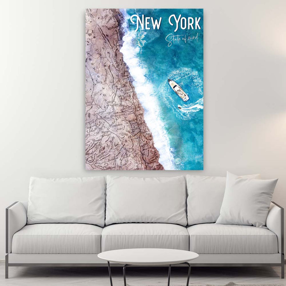 New York State Of Mind Inspirational Motivational canvas prints motivational wall art for home office gym decor by symbolic designs