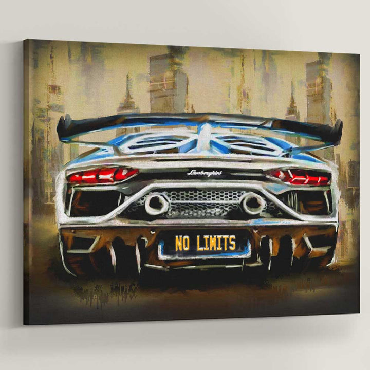 No Limits Lambo Sports Car Art Entrepreneur artwork canvas car print wall decor for home gym office by symbolic designs