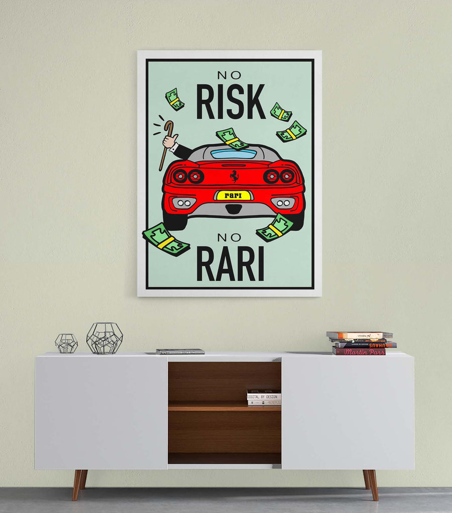 No Risk No Rari canvas wall art Monopoly Game On Motivational Art