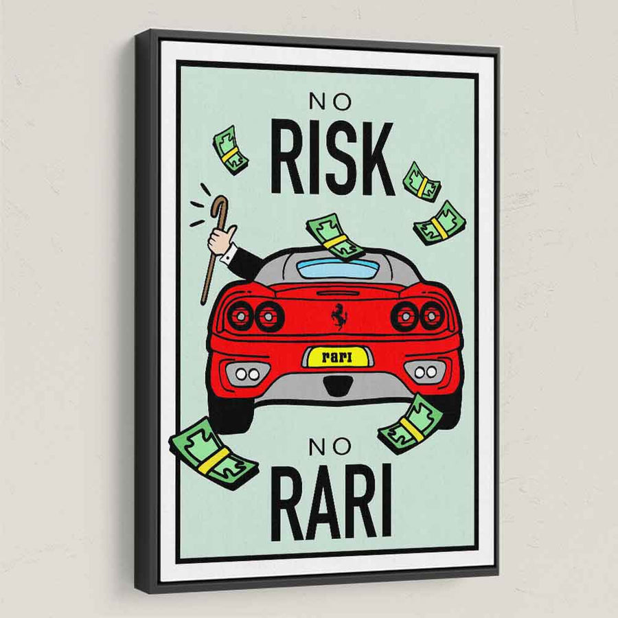 No Risk No Rari-Canvas-Symbolic Designs - Monopoly Inspired Game On Motivational Art black frame